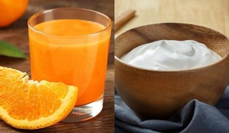 nước ép cam và sữa chua