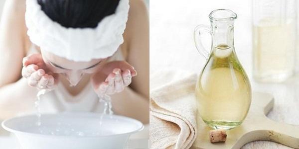 Rửa mặt với giấm trắng pha loãng